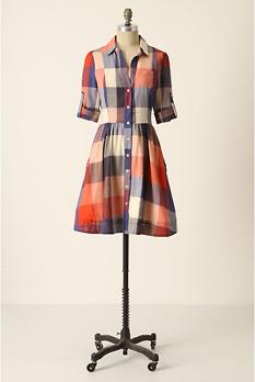 Plaid anthropologie dress